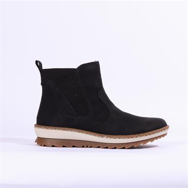 Rieker Widebuk Side Zip Cleated Sole - Black