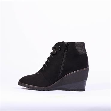 Zanni & Co Antalya One Lace Wedge Boot - Black Combi
