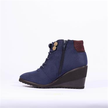 Zanni & Co Antalya One Lace Wedge Boot - Navy Combi