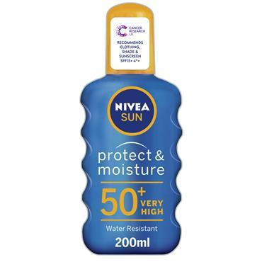 NIVEA SUN PROTECT AND MOISTURE SUN SPRAY SPF 50 PLUS 200ML