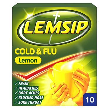 LEMSIP COLD  FLU LEMON 10 SACHETS
