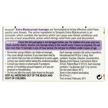 STREPSILS EXTRA BLACKCURRANT 24 LOZENGES