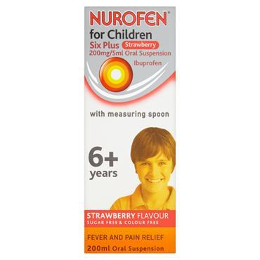 NUROFEN FOR CHILDREN 6+YEARS STRAWBERRY 200ML WSPOON
