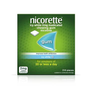 NICORETTE 2MG ICY WHITE GUM 210PIECES