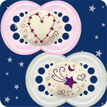 MAM NIGHT 6+M SOOTHER GIRL 45G