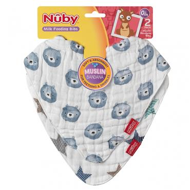 Nuby Muslin Bandana Bibs 0M+ 2 pack