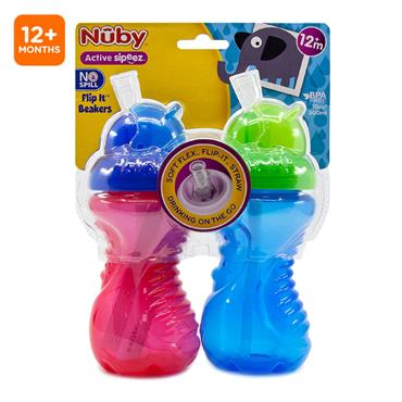 Nuby Flip it No Spill Beakers 12M+ 2 pack