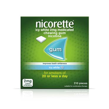 Nicorette gum icy white 2mg 210