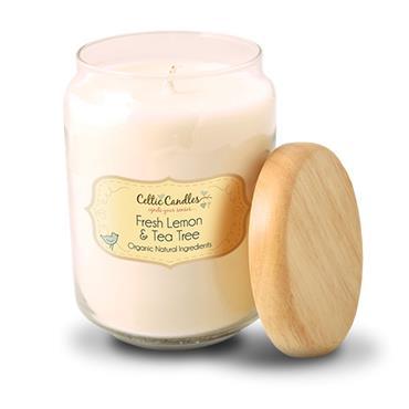 Celtic Candles Fresh Lemon & Tea Tree  candle large pop jar