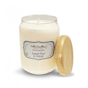 Celtic Candles Sweet Plum & Amber candle large pop jar