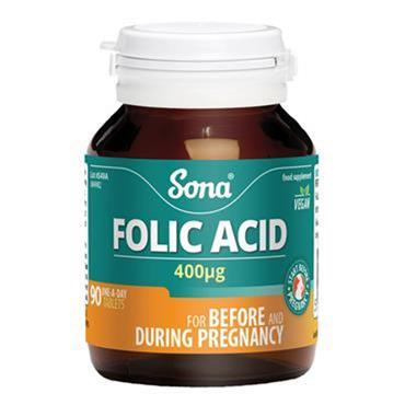 Sona Folic acid 400ug tablets 90