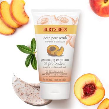 Burts Bees Peach & Willow Bark Deep Pore Scrub 110g