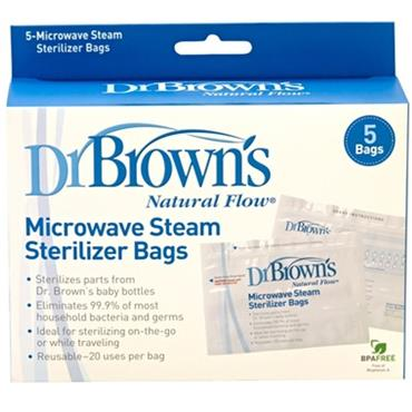 DR BROWN'S MICROWAVE STEAM STERILISER BAGS 5s