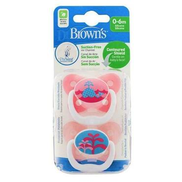 DR BROWN'S PREVENT SOOTHERS GIRL TWIN PACK 0-6 MONTHS