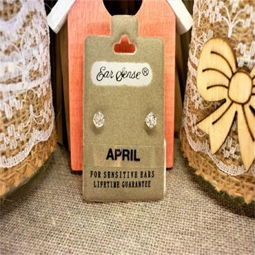 Earsense April Birthstone Stud Earrings