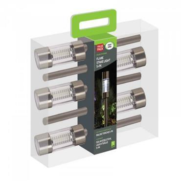 SMART GARDEN FLARE S/STEEL STAKE LIGHT 5 PACK