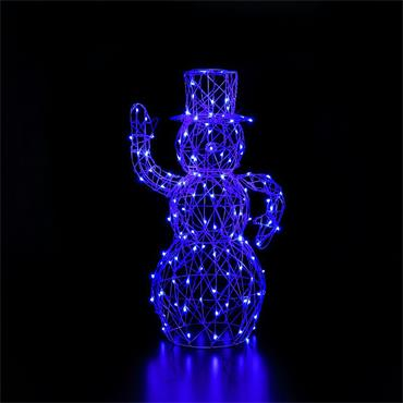 NOMA COLOUR CHANGEABLE  WHITE WICKER SNOWMAN WITH REMOTE 1M