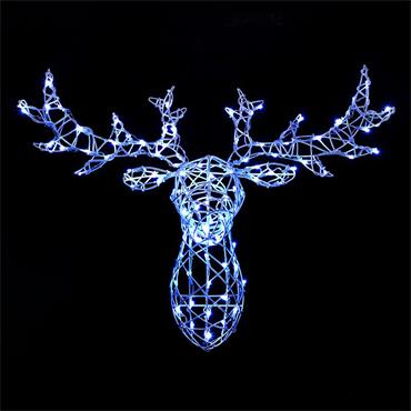 NOMA COLOUR CHANGEABLE WHITE WICKER STAG HEAD WITH REMOTE 80CM
