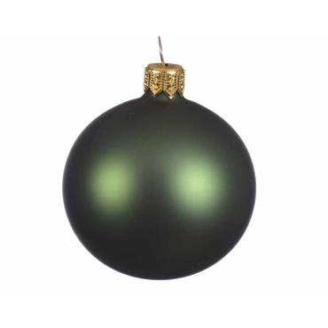 KAEMINGK BAUBLE GLASS PINE GREEN 10CM