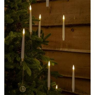 NOMA 10 WHITE REMOTE CONTROLLED MAGIC TREE CANDLES WITH JEWEL AND WAND