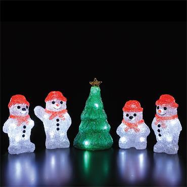 NOMA SET OF 5 ACRYLIC SNOWMEN & TREE STRING LIGHTS