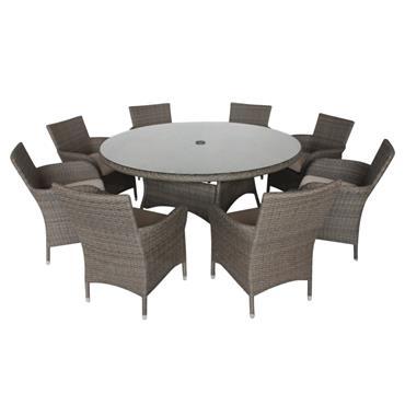 LG OUTDOOR MONACO OAK 8 SEAT DINING SET