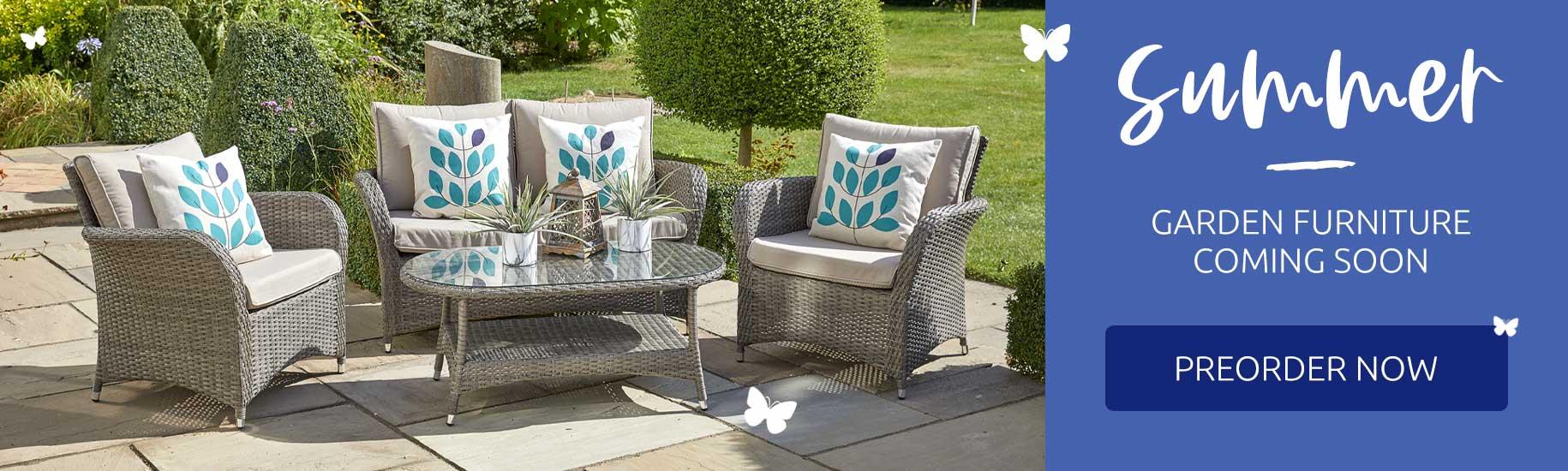Summer garden furniture coming soon - preorder now