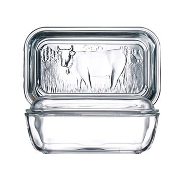 LUMINARC GLASS COW BUTTER DISH WITH LID | GL1322