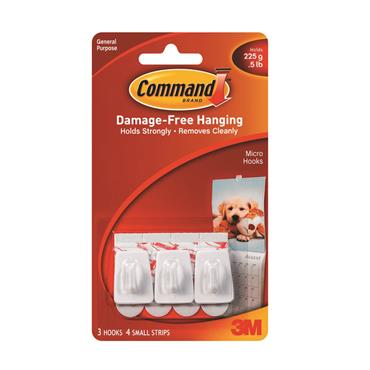 COMMAND 3M MICRO HOOK ( 3 HOOKS 4 STRIPS) | 3M17066