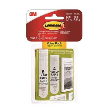 COMMAND 3M PICTURE HANGING STRIPS (8 Large 4 Medium) | 3M17209