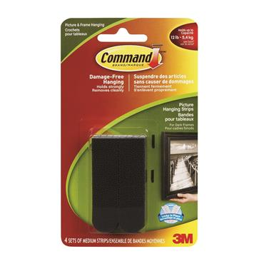 COMMAND 3M MEDIUM PICTURE HANG STRIPS BLACK | 3M17201BLK