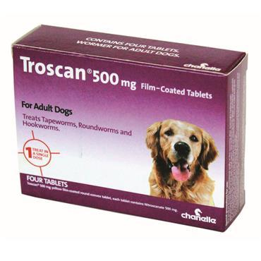 TROSCAN 500MG DOG WORMER 4'S