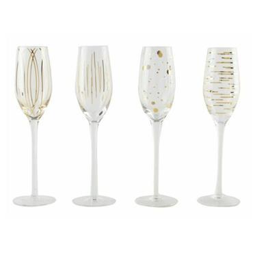Mikasa Cheers Metallic Gold Set Of 4 7Oz Flute Glasses | 5140630