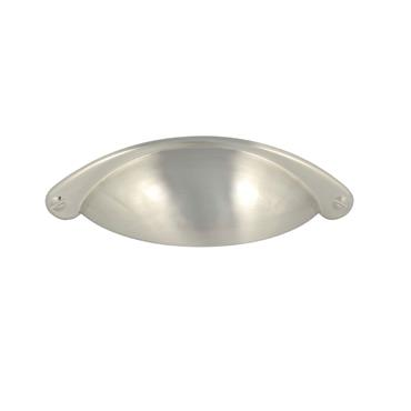 Satin nickel traditional shaker cup cabinet handle - 64mm | 0030060