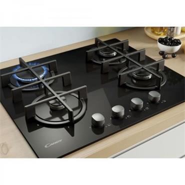 Candy 60cm 4 Ring Gas on Glass Hob - Black | CVG6B