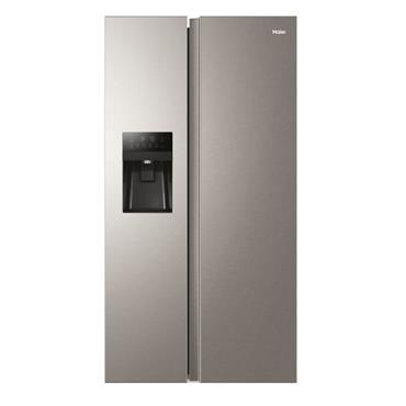 Haier American Style Fridge Freezer Plumbed Ice and Water - Platinum Inox | HSR3918FIMP