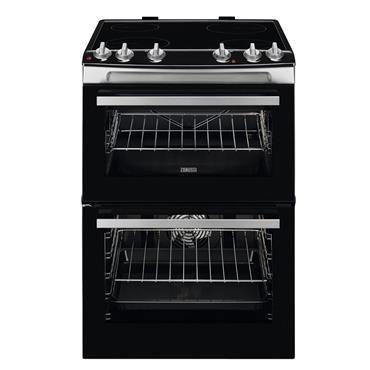 Zanussi 60cm Double Oven Electric Ceramic Top Cooker Stainless Steel | ZCV66050XA