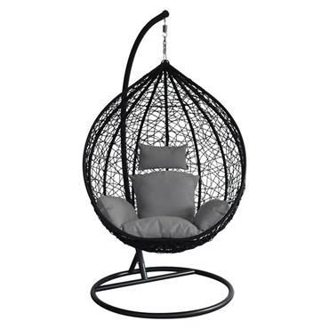 Hanging Egg Chair Swing with Charcoal Cushion