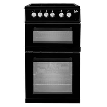 Beko 50cm double oven Ceramic Top electric cooker Black | KDVC563AK