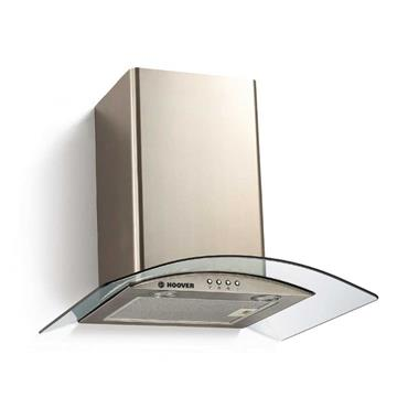 Hoover 60cm Curved Glass Chimney Hood - Stainless Steel | HGM600X