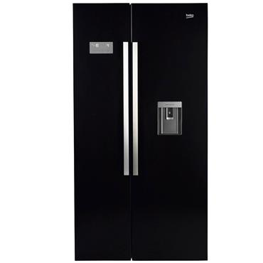 Beko American Style Fridge Freezer with Non Plumbed Water Dispenser Black | ASD241B