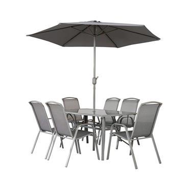 Napoli 6 Seater Rectangular Garden Furniture Set with Parasol