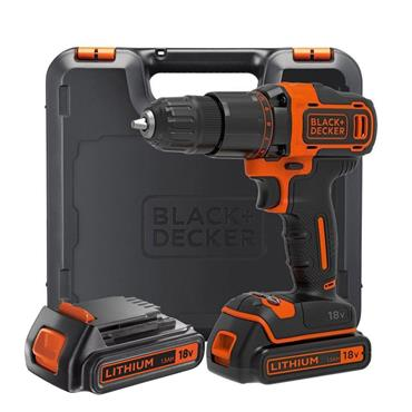 Black & Decker Combi Drill 18V 2 x 1.5Ah Li-ion with 120 Piece Accessory Set | XMS19BD18VD