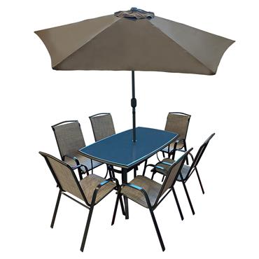 Shannon 6 Seater Rectangular Garden Furniture Set with Parasol