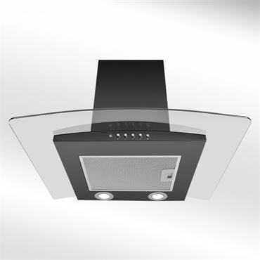 Luxair 90cm Curved Glass Cookerhood - Black   LA-90-ARTIS-CVD