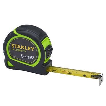 Stanley Hi-Viz Tylon Tape 5m/16ft (Width 25mm) | XMS19HVTAPE5
