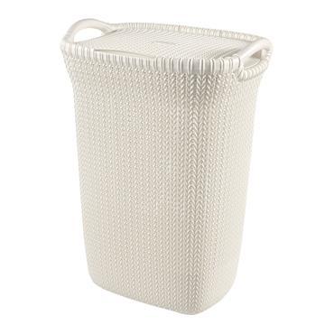 Curver Knit Laundry Hamper Basket 57 Litre - Oasis White | CUR228391