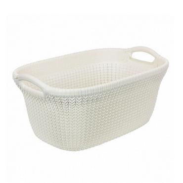 Curver Knit 40 Litre Laundry Hamper Basket - Oasis White | CUR228393