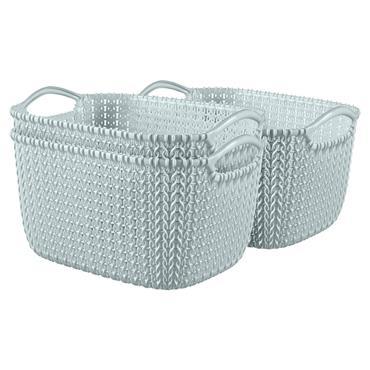 Curver Knit Rectangular Basket 3 Litre - Duck Egg Blue | CUR229304