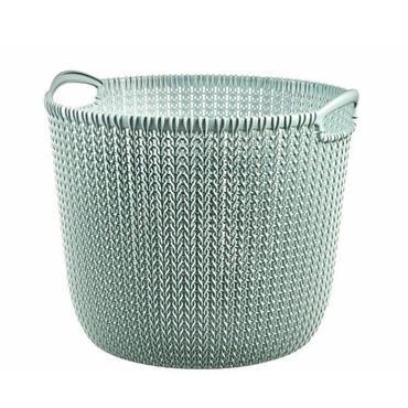 Curver Knit Round Laundry Basket Hamper 30 Litre - Misty Blue   CUR226389